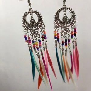 New trendy boho festival earrings feather rainbow